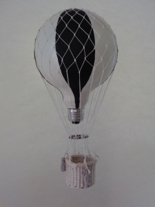Hot air balloon from reclaimed objects.